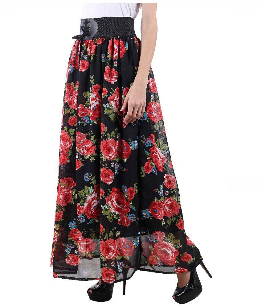 Buy Raabta Fashion Multi Color Georgette A-Line Skirt Online at ...