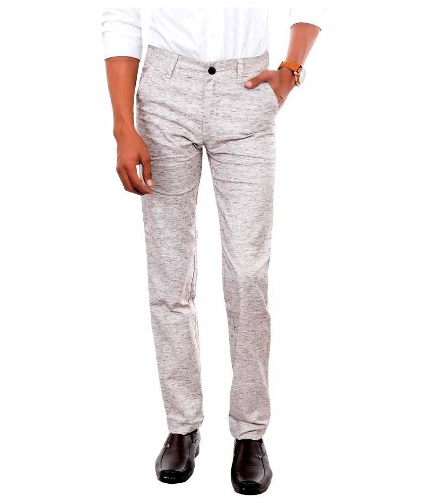 Killox Off White Regular Flat Trouser