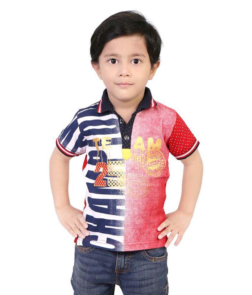 Justkids Multicolour Cotton T Shirt for Boys