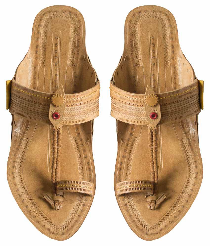 Paytaan Beige Flat Ethnic Footwear