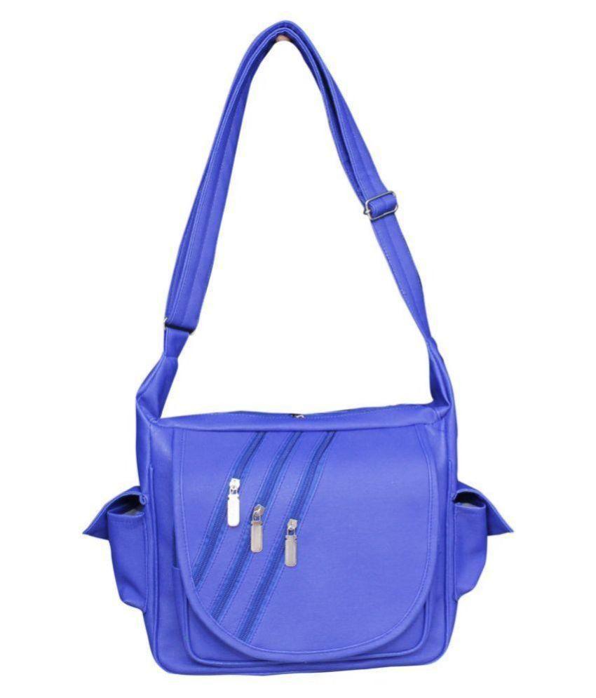 SR Sales Blue Faux Leather Sling Bag