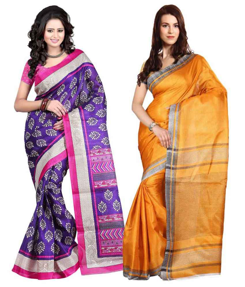 Aryahi Purple Art Silk Saree Combos