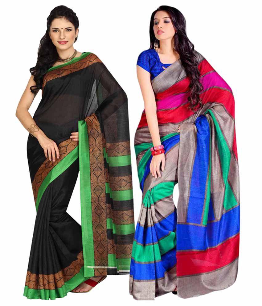 Parchayee Black Art Silk Saree Combos