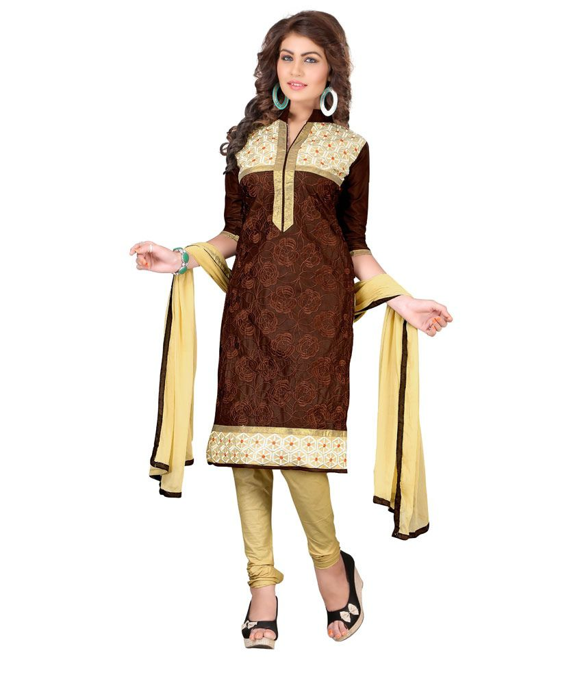 Soru Fashion Brown Cotton Straight Unstitched Dress Material