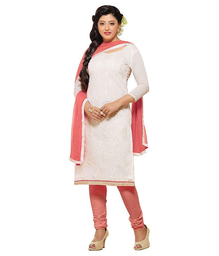 Women Latest Fancy Designer Salwar Suit White Chanderi Straight Unstitched Dress Material
