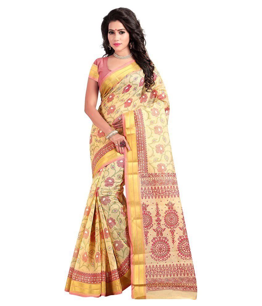 New Trendz Light Yellow Cotton Saree