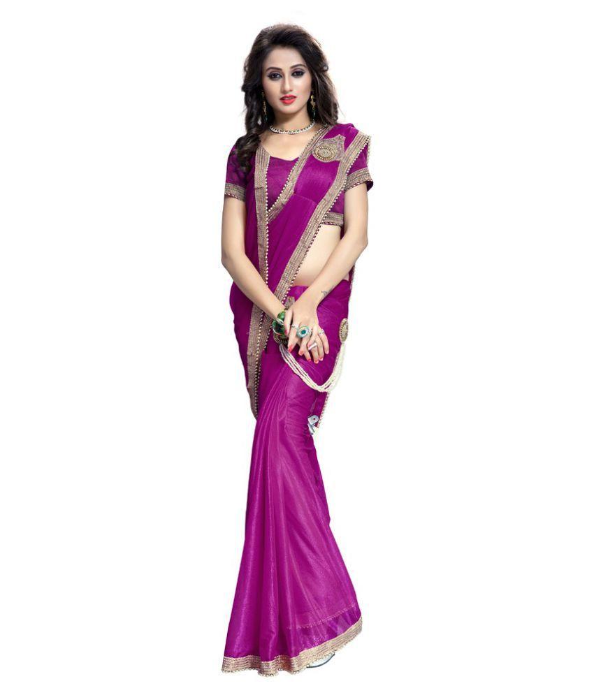 Prachi Silk Mills Neon Pink Lycra Saree