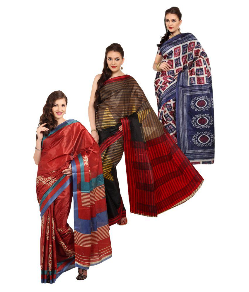 Satrang Multicoloured Art Silk Saree Combos