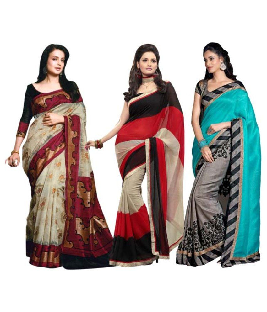 Satrang Multicoloured Bhagalpuri Silk Saree Combos