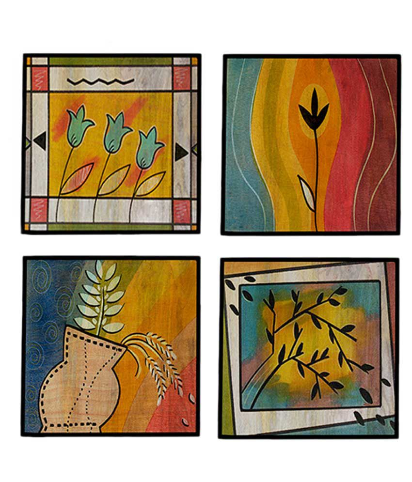 Rang Rage Handpainted Art Panel  Wood Hand Paintings Without Frame 4 Combination
