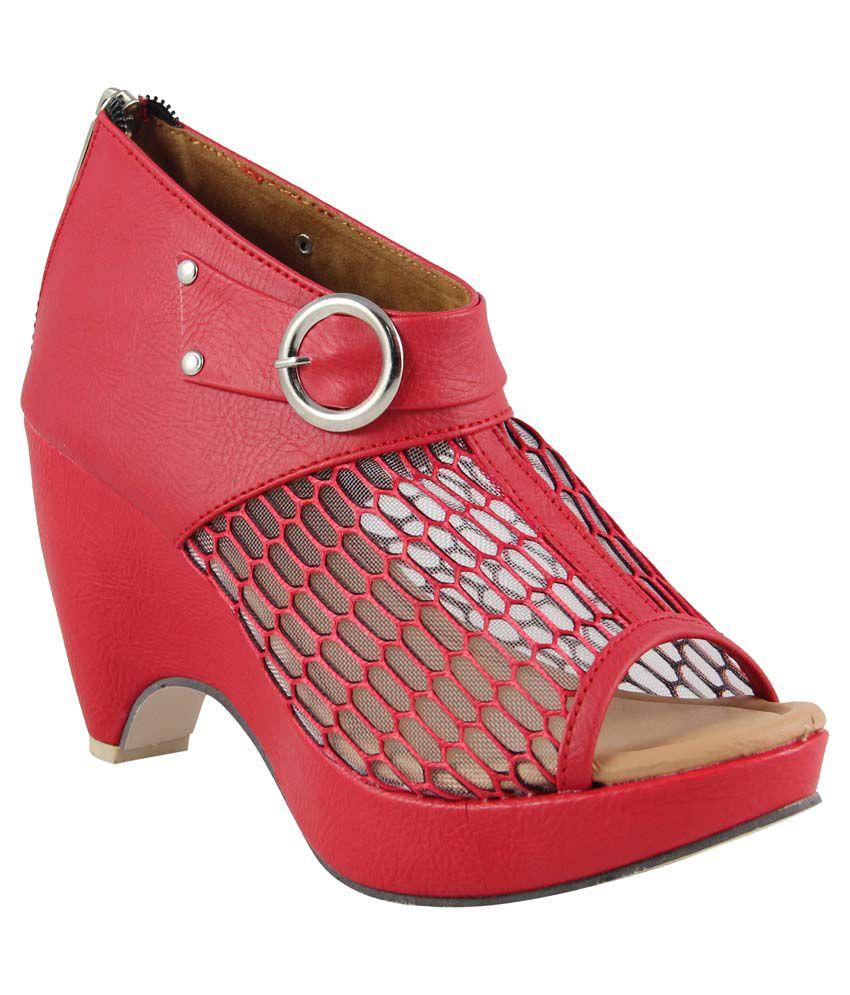 Cute Fashion Red Block Heels