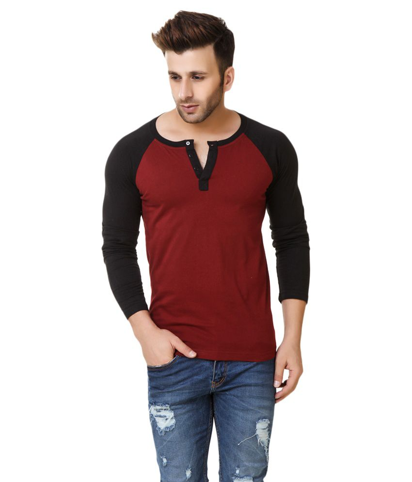 Fabstone Collection Maroon Henley T-Shirt
