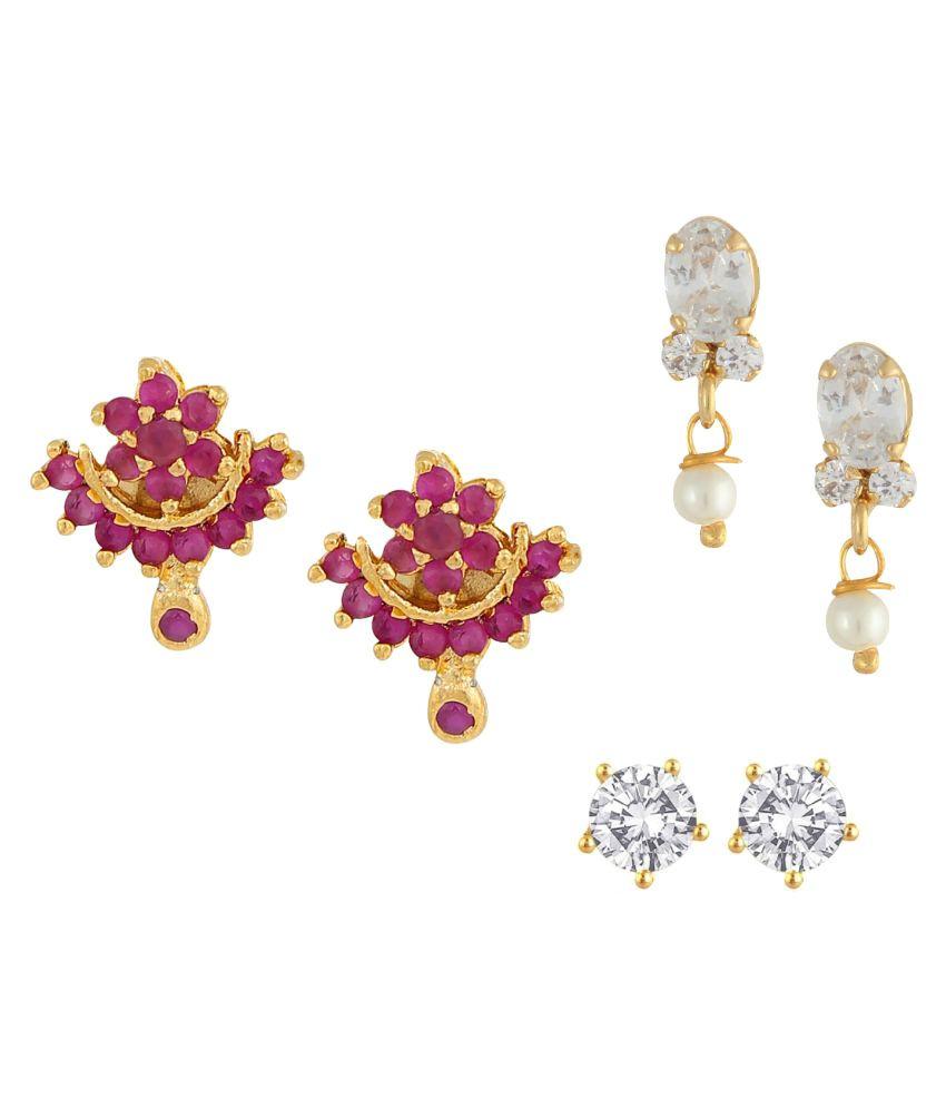 Parinaaz Multicolour Alloy Earrings - Set of 3