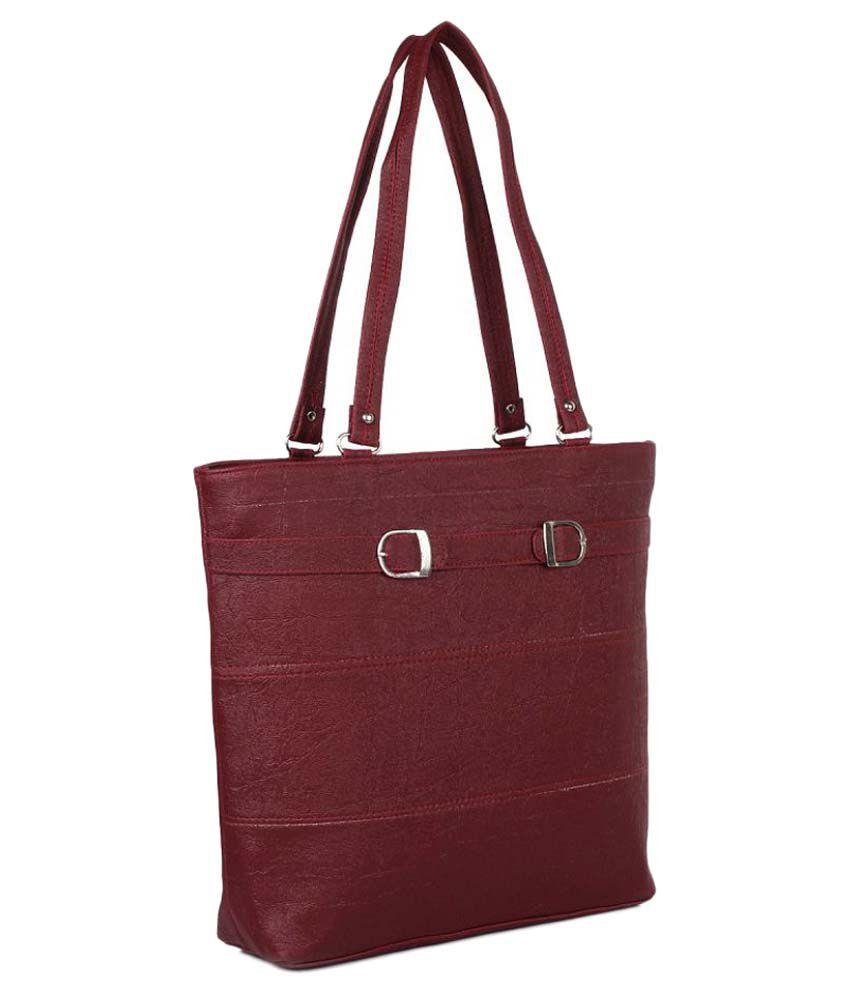 Tramp & Badger Maroon Fabric Shoulder Bag