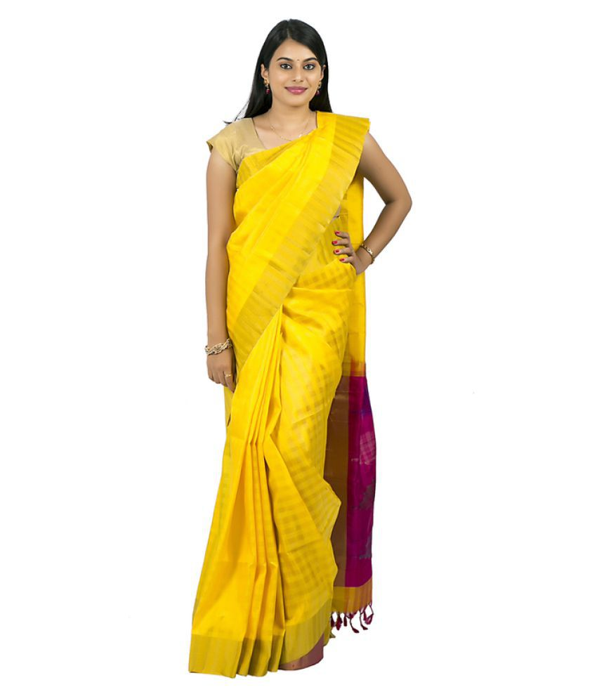 Abhi Silks Yellow Dupion Silk Saree