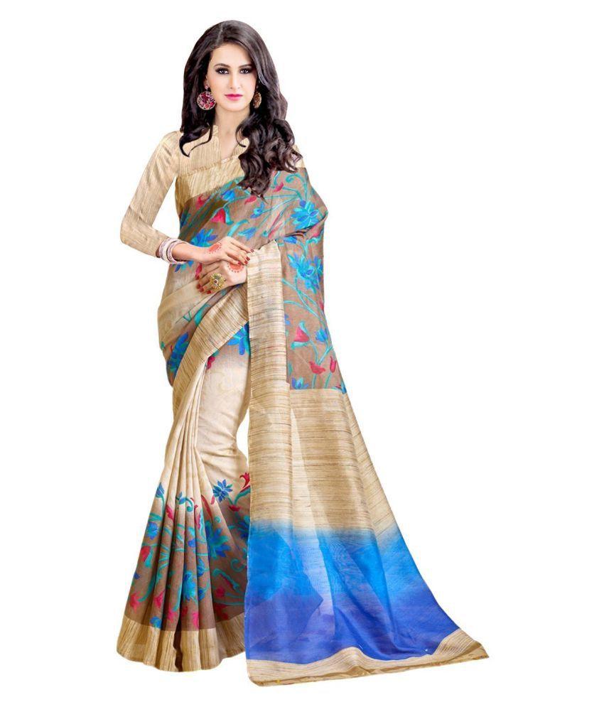 Dressy Blue and Beige Bhagalpuri Silk Saree