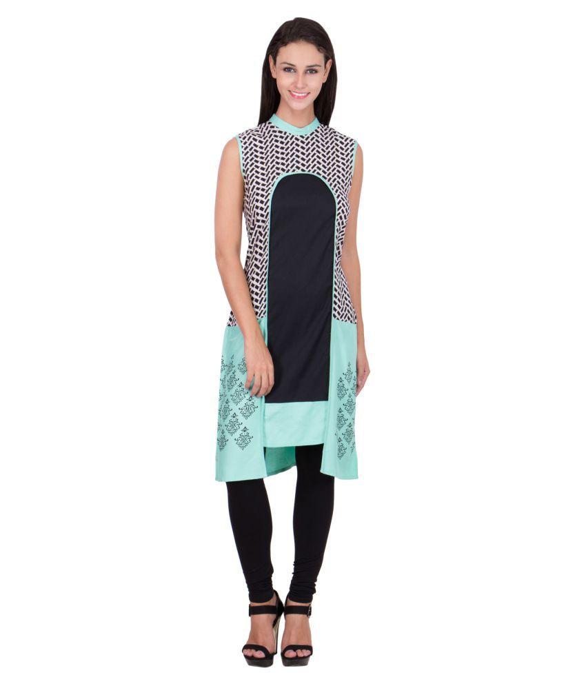 Sbo Fashion Green Rayon Asymmetrical Hemline Kurti