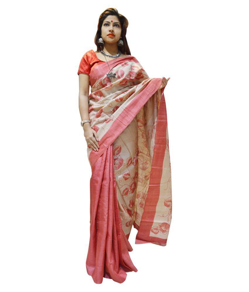 Exin Fashion Multicoloured Tussar Silk Saree