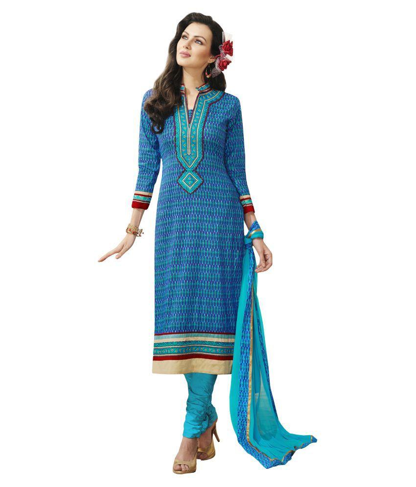 Jiya Blue Cotton Straight Unstitched Dress Material