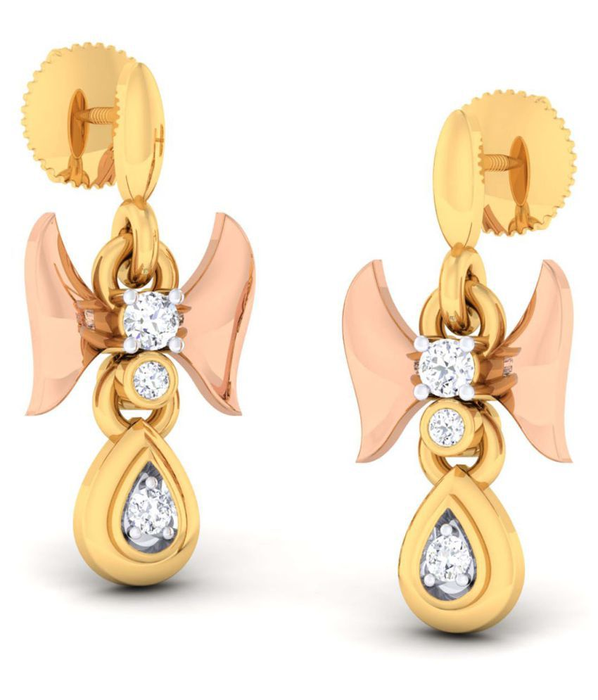 Jewellery Bazaar 18k Yellow & Rose Gold Diamond Hangings