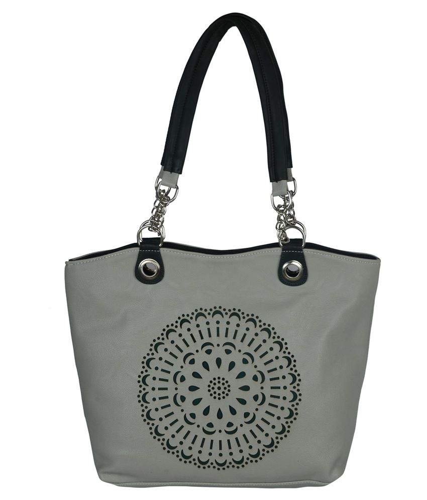 Murcia Gray Faux Leather Tote Bag