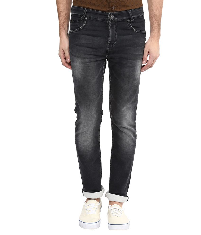 Mufti Black Regular Fit Faded Jeans