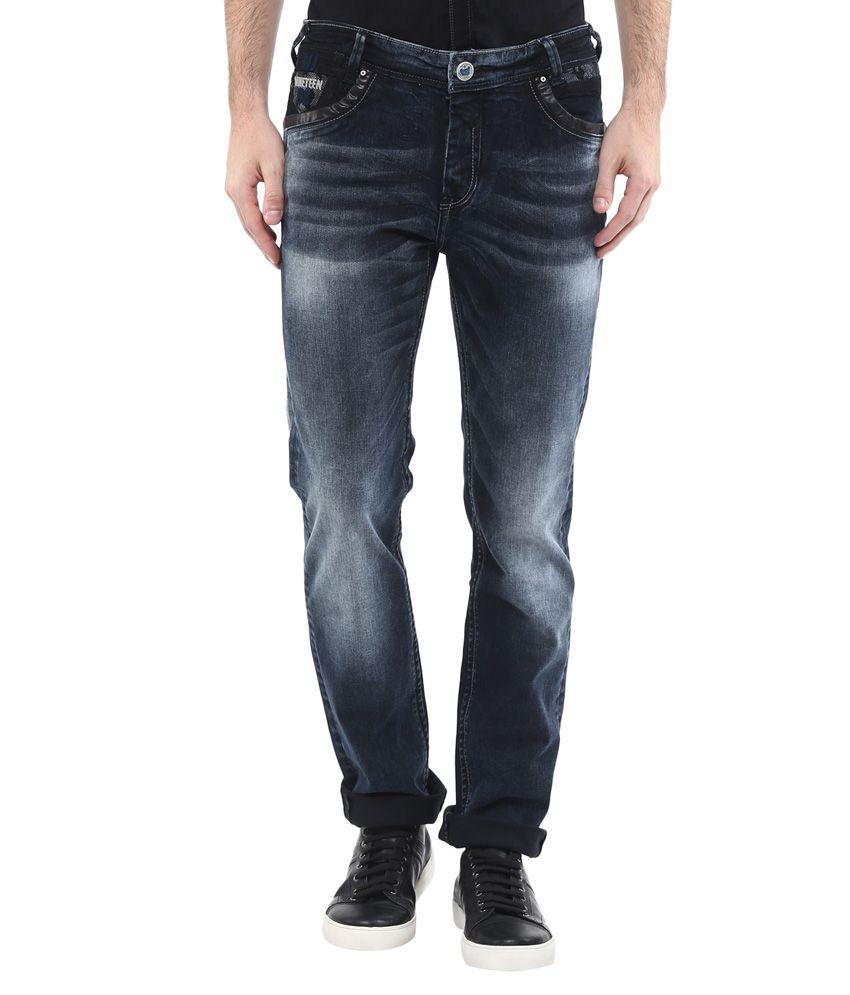 Mufti Black Regular Fit Faded Jeans