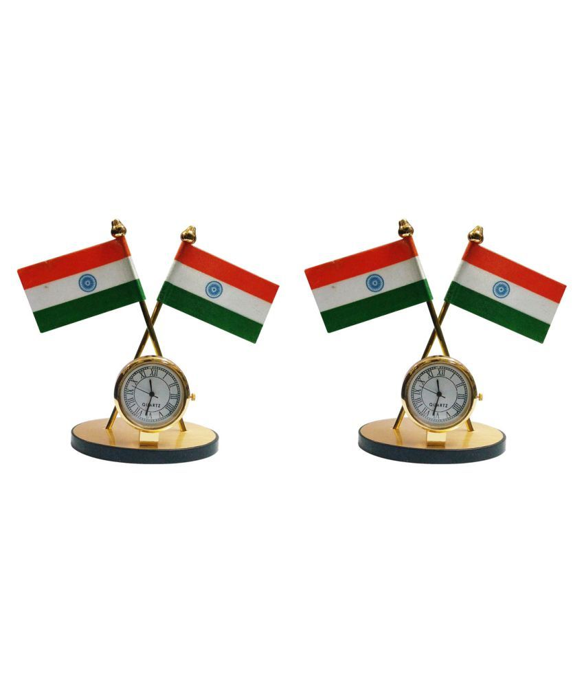 Gold Dust Indian Flag with Clock Symbol for Car Dashboard - Set of 2