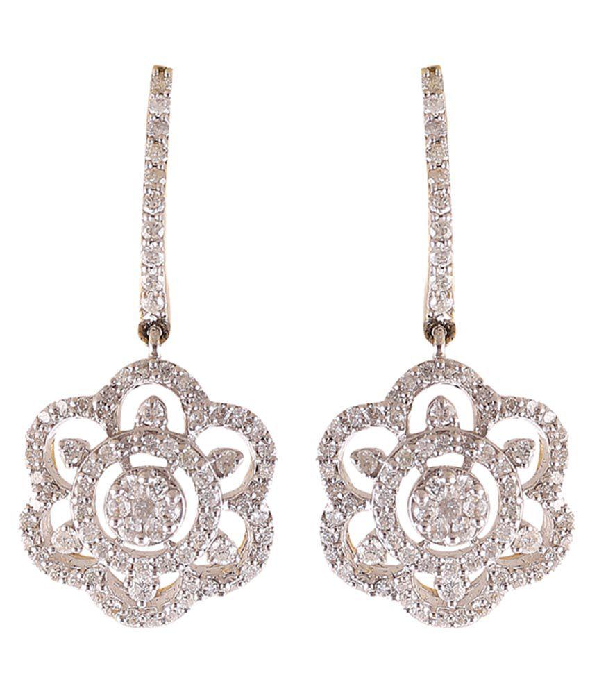 Jisha 18k BIS Hallmarked Gold Diamond Drop Earrings