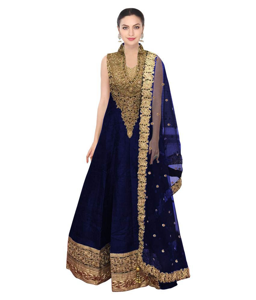 b959dbfc6f Fabron Blue and Beige Raw Silk Anarkali Gown Semi-Stitched Suit - Buy  Fabron Blue and Beige Raw Silk Anarkali Gown Semi-Stitched Suit Online at  Best Prices ...