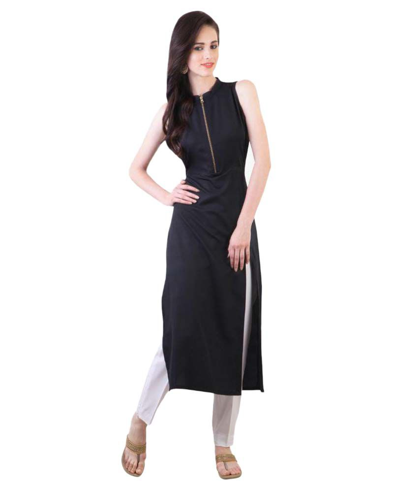 Fashionuma Black Crepe Straight Kurti