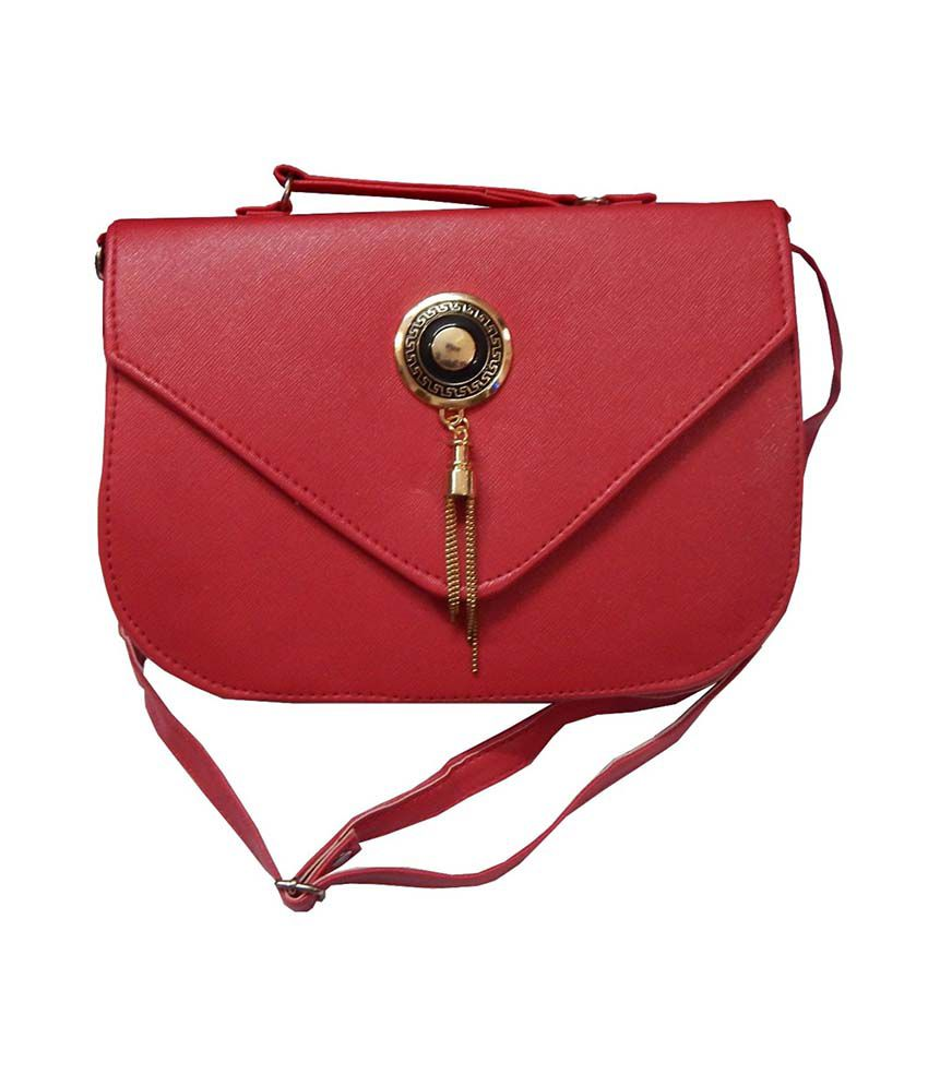 Navaksha Red Faux Leather Sling Bag