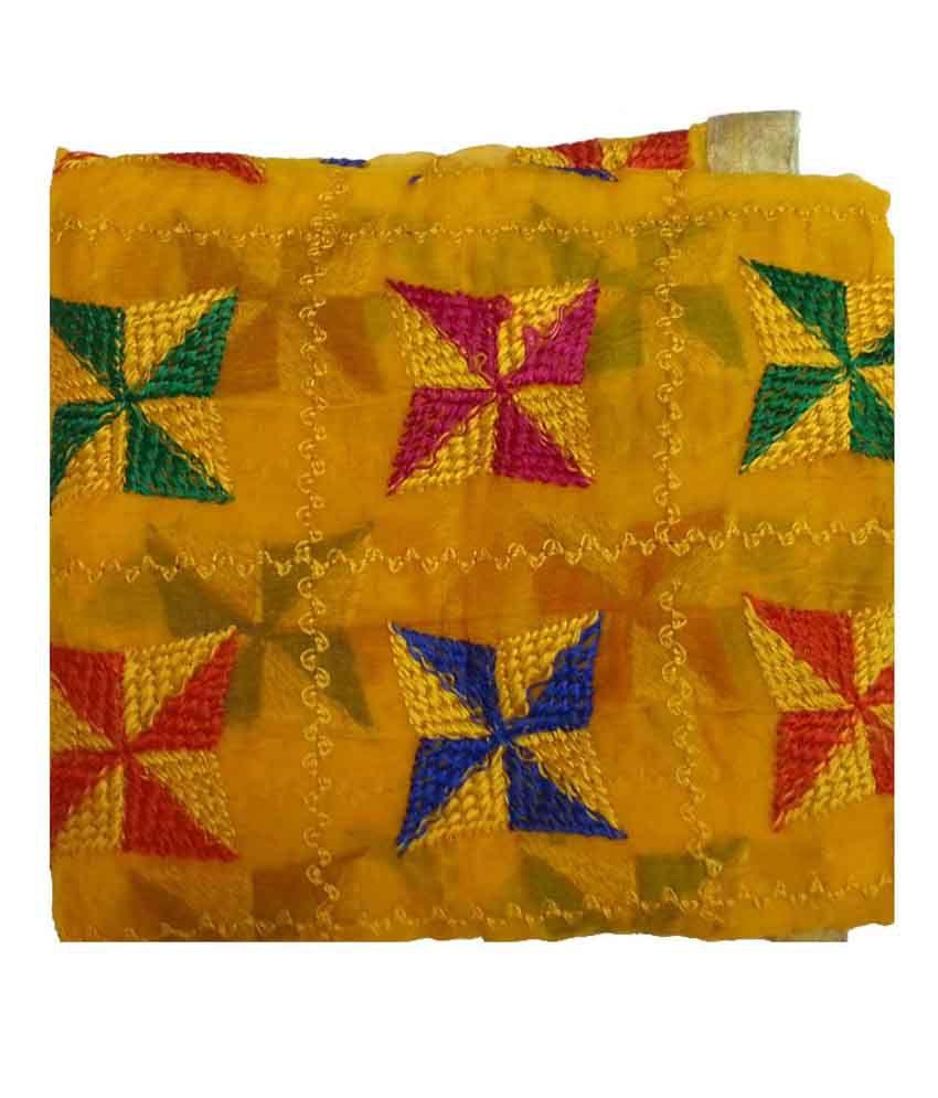Aaanimation Yellow Chiffon Phulkari Dupattas Price in India - Buy ...