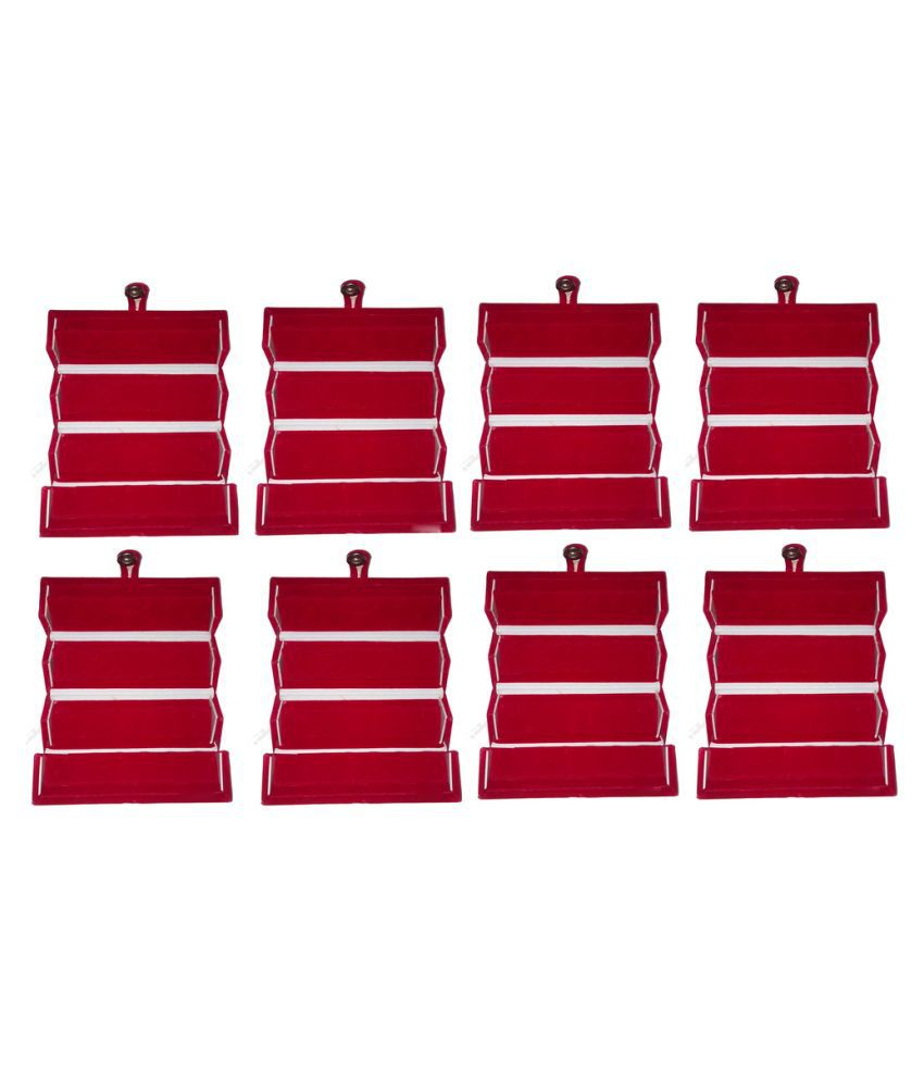 Abhinidi Maroon Wood Jewellery Box - Pack of 8