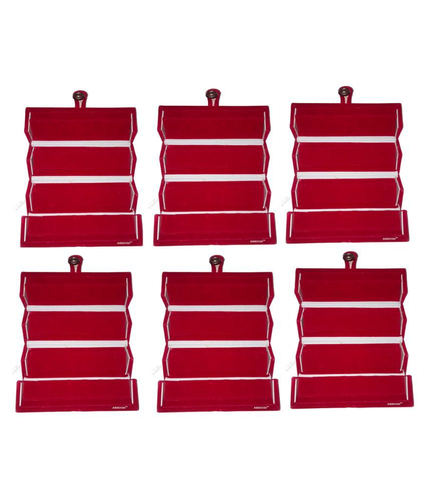 Abhinidi Maroon Wood Jewelry Box - Pack of 6