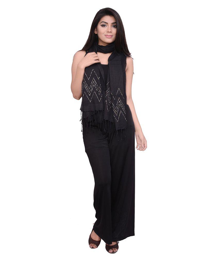 Dream Fashion Black Viscose Stone work Shawls