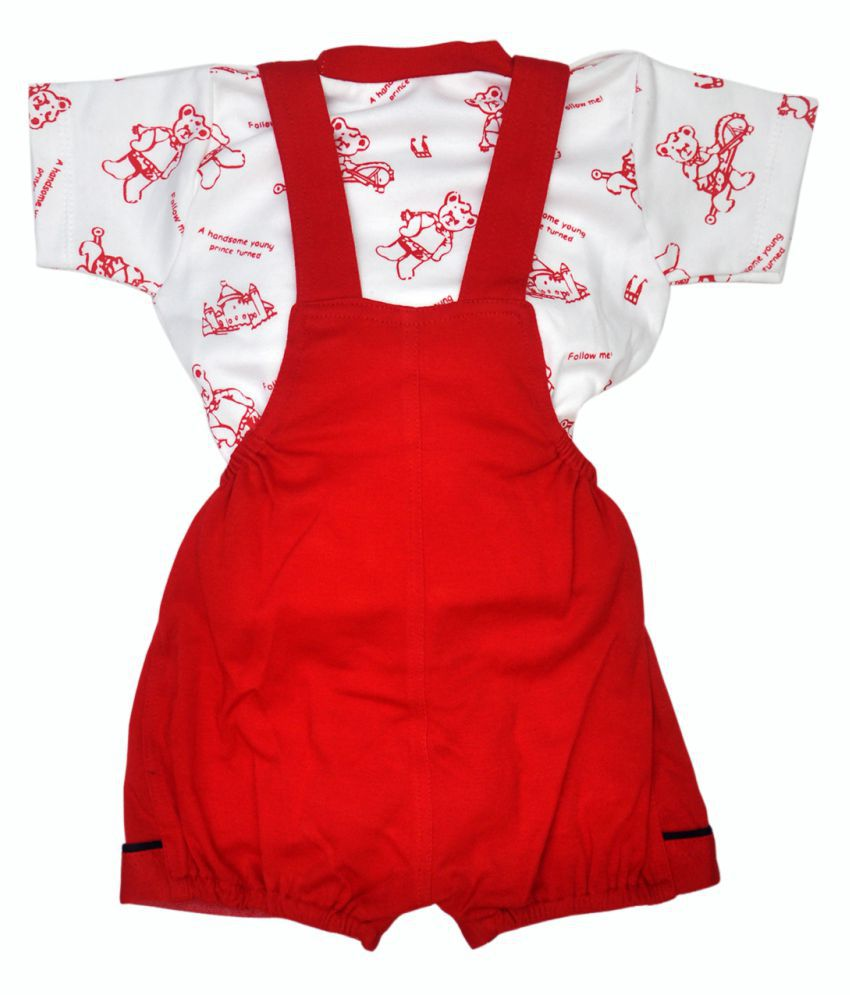8a666e930 BelleGirl Red Cotton Romper with Teddy Bear - Buy BelleGirl Red ...