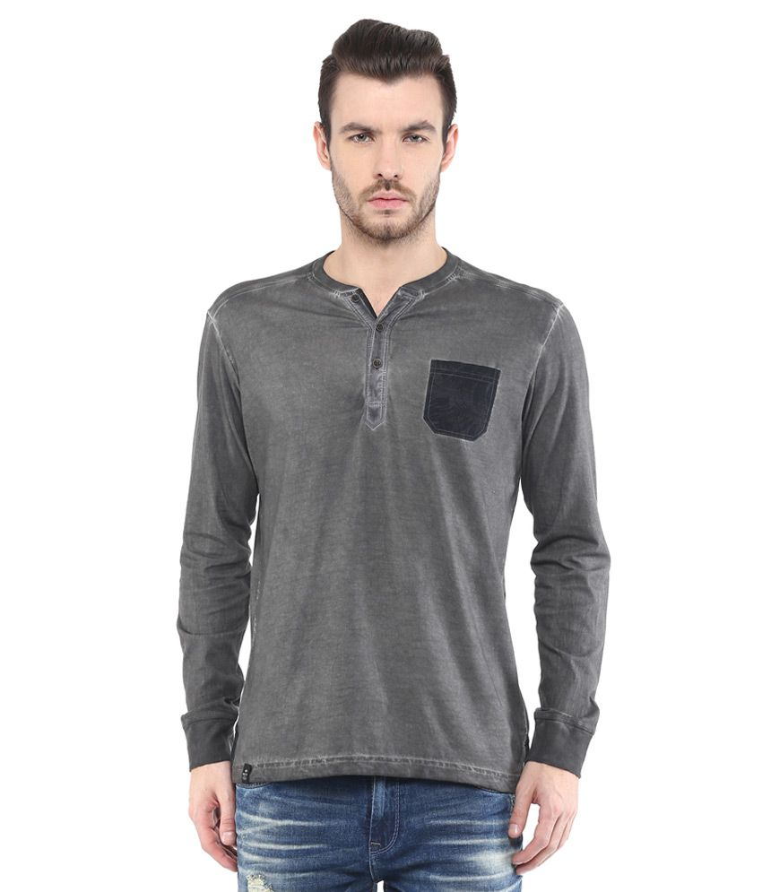 Mufti Grey Solid Slim Fit Henley T-Shirt