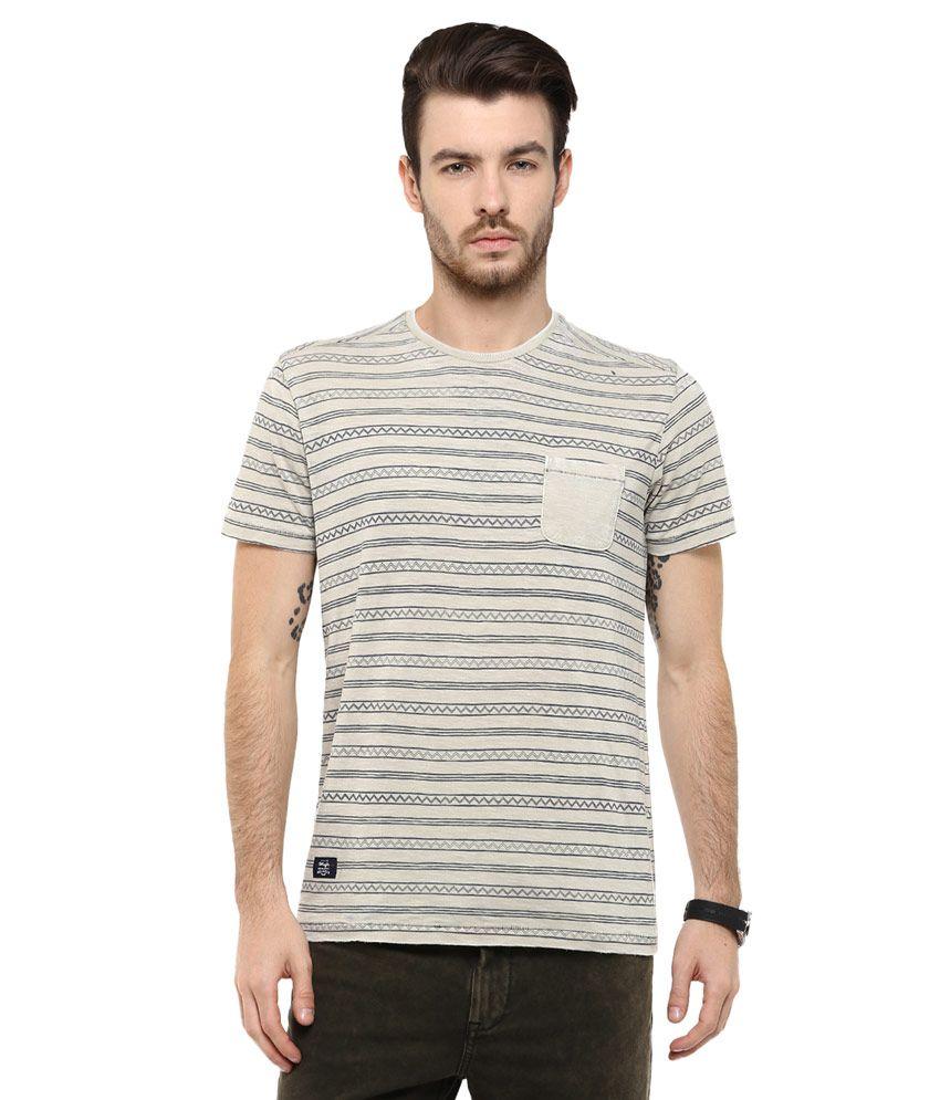Mufti Grey Striped Slim Fit T-Shirt