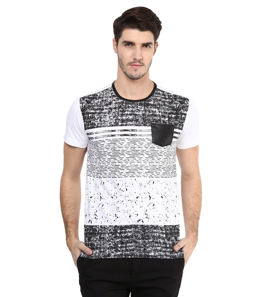 Mufti White Printed Slim Fit T-Shirt