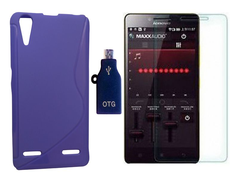 Mocell Lenovo A6000 Plus Mocell PURPLE SOFT BACK COVER CASE + TEMPEPURPLE GLASS SCREEN PROTECTOR + OTG ADAPTER COMBO