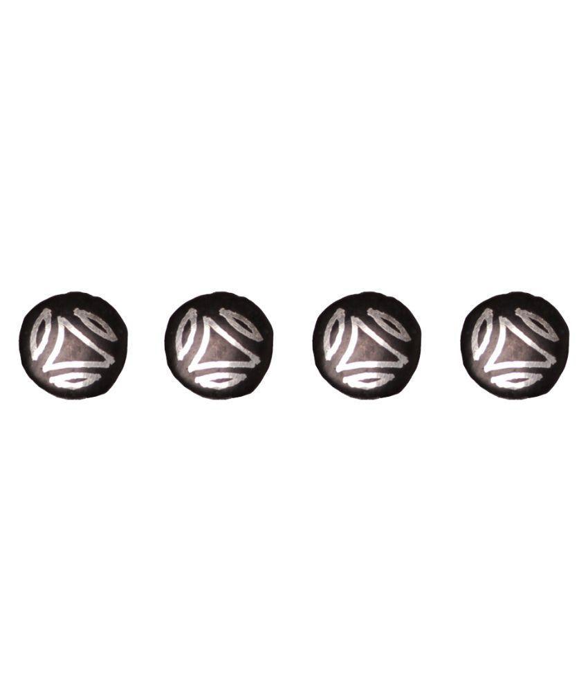 Navrang Black Metal Kurta Button - Set of 4