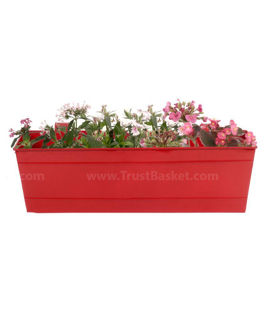 Trust Basket Rectangular Railing Planter Red 18 Inch Both