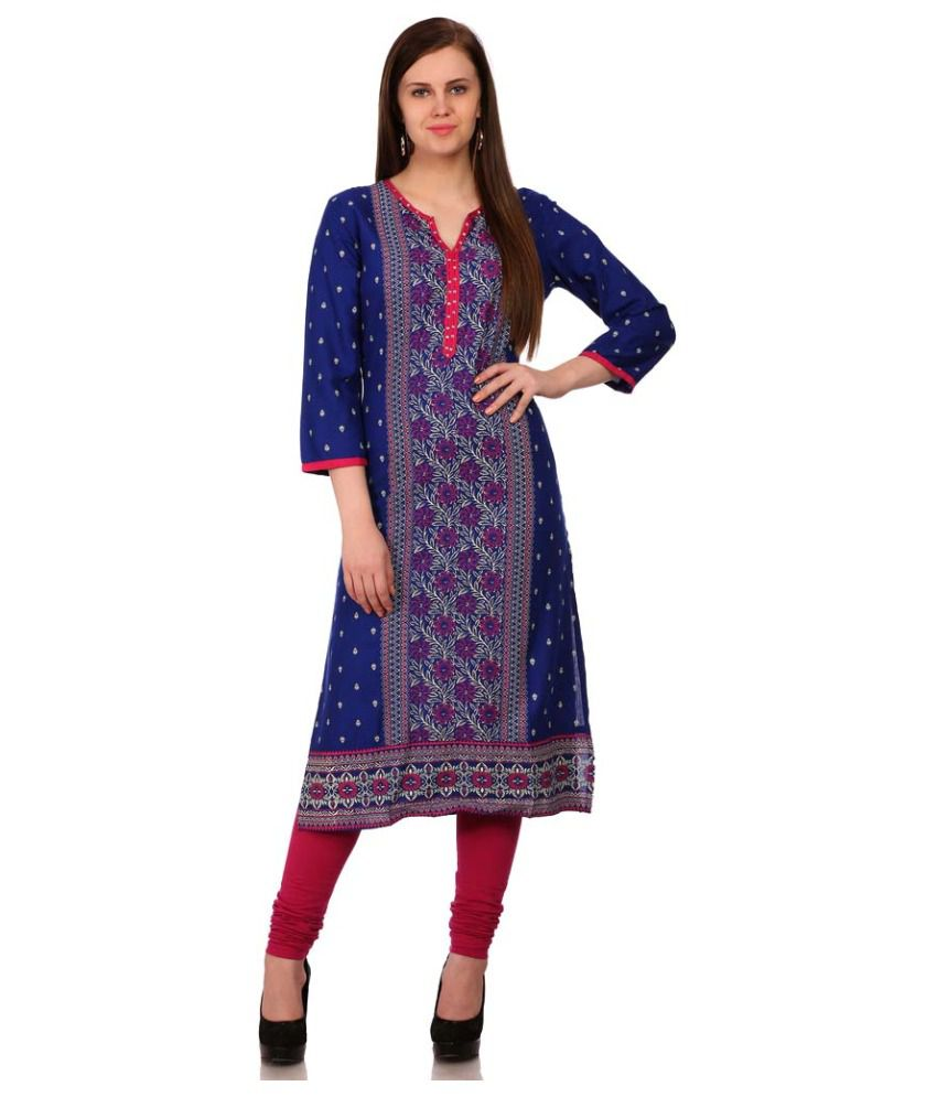 5ced9e490b Sabhyata Blue Cotton Straight Kurti - Buy Sabhyata Blue Cotton Straight  Kurti Online at Best Prices in India on Snapdeal