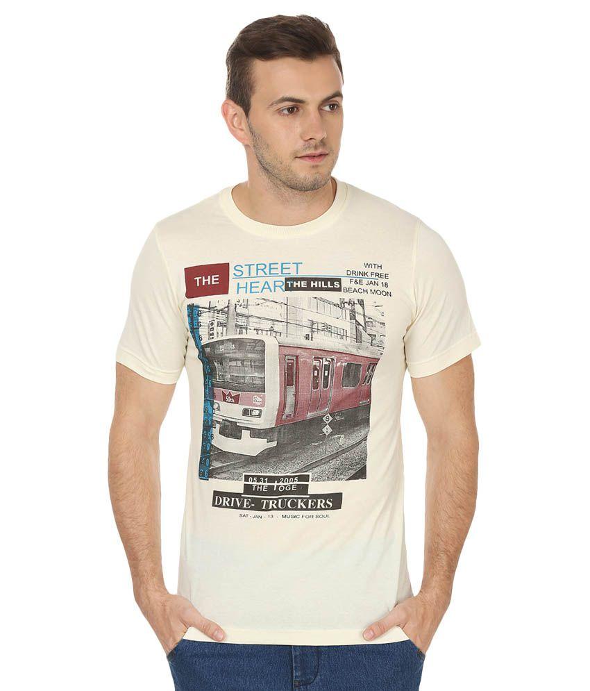 Bansons Fashion Beige Round T-Shirt