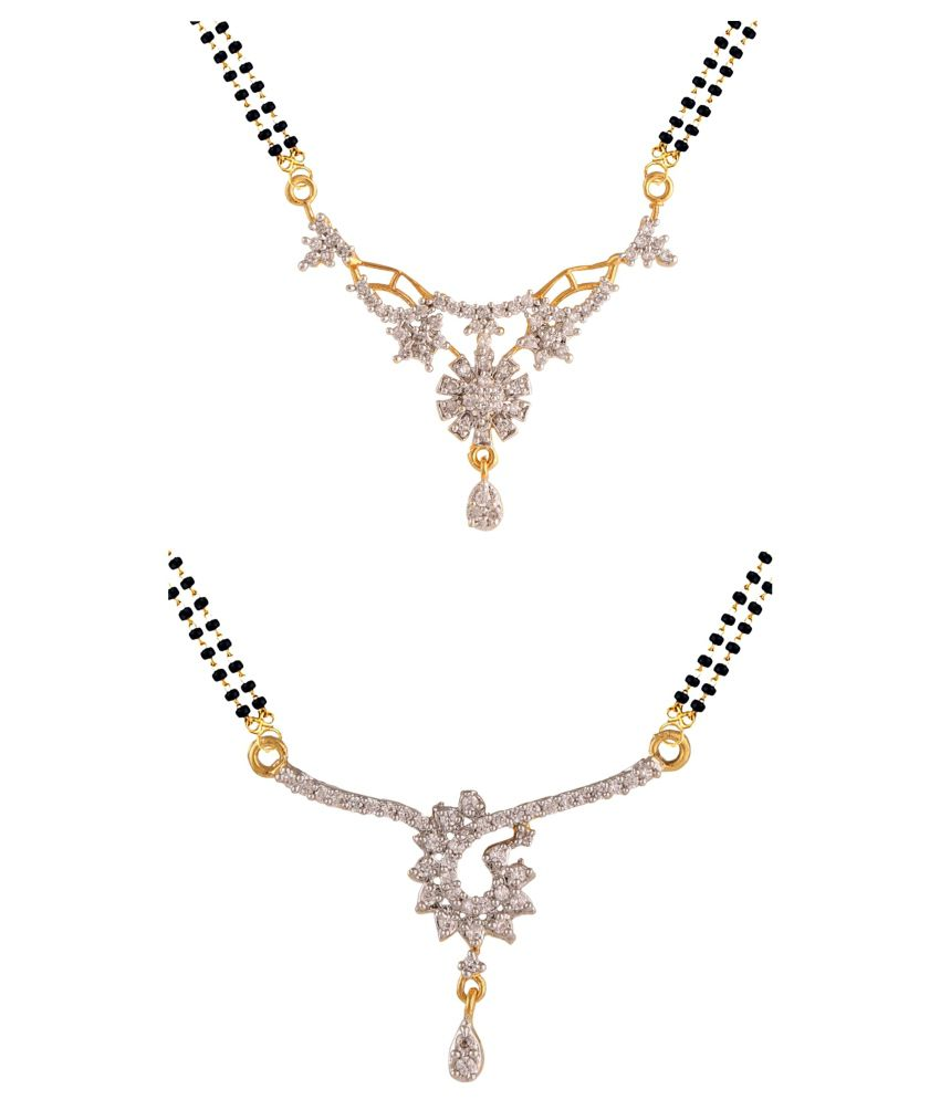 Efulgenz Cubiz Zirconia Studded Silver Colored Mangalsutra - Pack of 2
