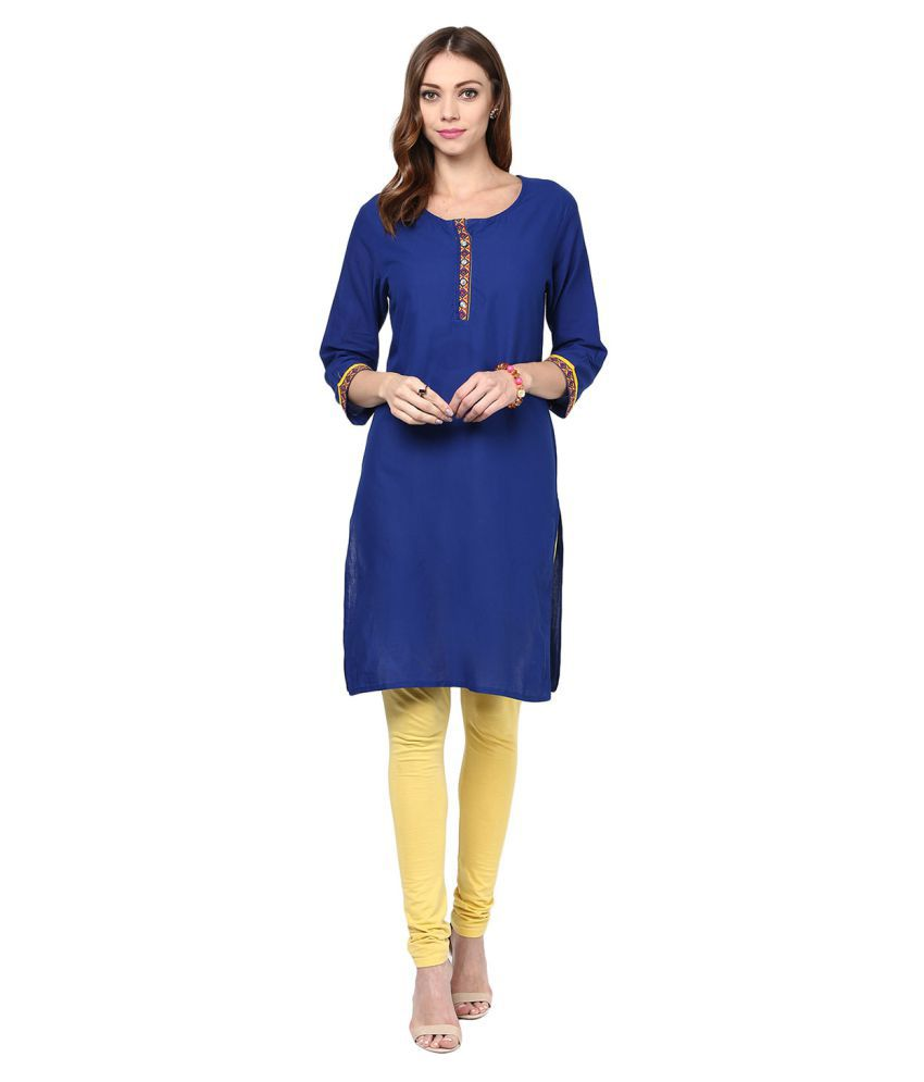 Jaipur Kurti Blue Cotton Straight Kurti