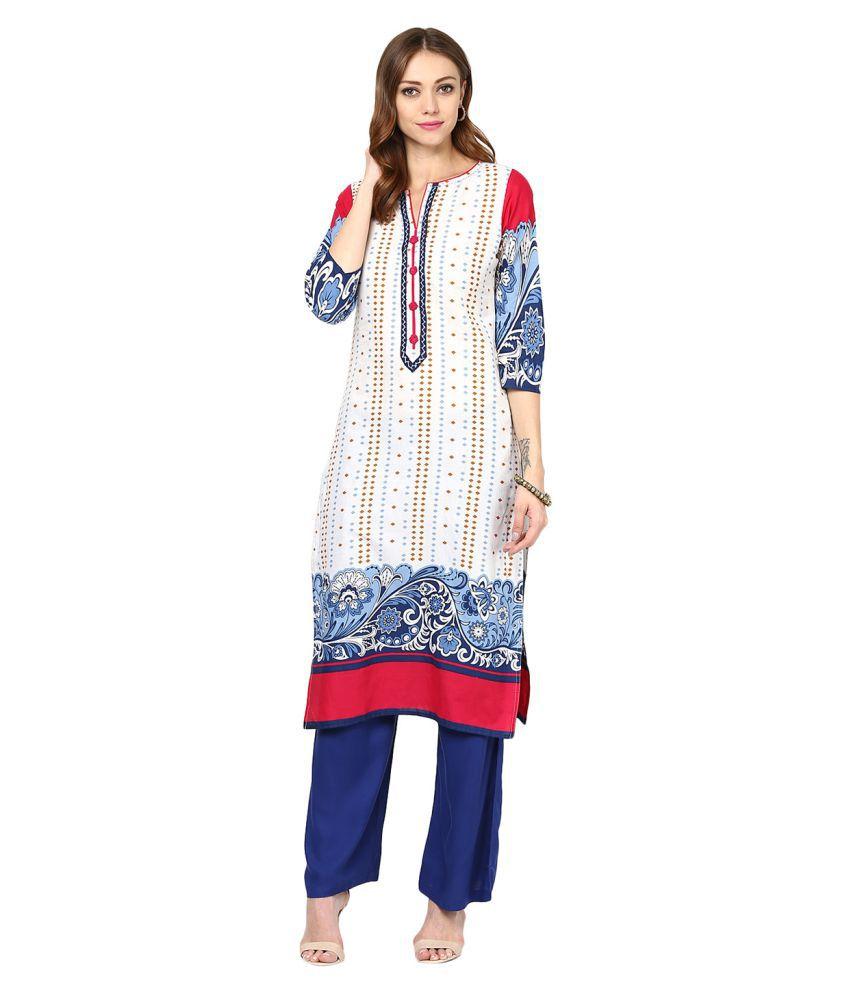 Jaipur Kurti White Cotton Straight Kurti