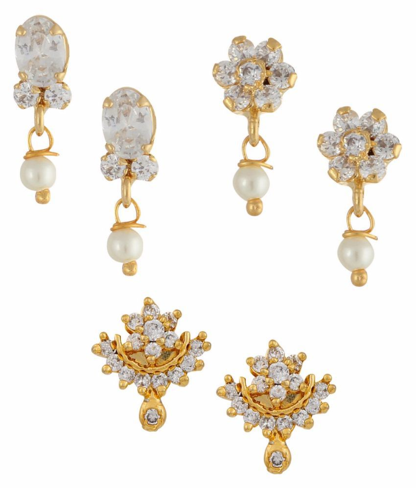 Parinaaz White and Gold Earrings - Set of 3