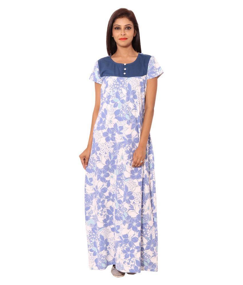 Buy 9Teenagain White Cotton Nighty   Night Gowns Online at Best Prices in  India - Snapdeal 633589fb2